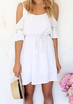 Sexy Scoop Neck Half Sleeve Off-The-Shoulder Women's Dress