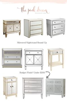 Where To Mirrored Nightstand For L Round Dresser With Mirror