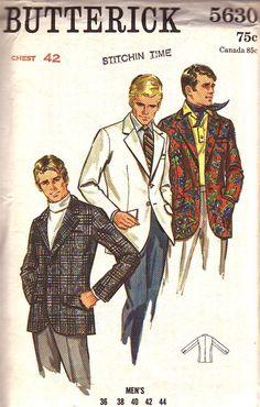 Men Suit Coat Sewing Patterns butterick pattern 5630 vintage mens suit coat blazer jacket for size Coat Pattern Sewing, Jacket Pattern, Vintage Sewing Patterns, Paper Patterns, Coat Patterns, Dress Patterns, Mens Suit Coats, Mens Suits, Fashion Illustration Vintage