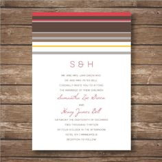 Printable Linear Wedding Invitation Suite