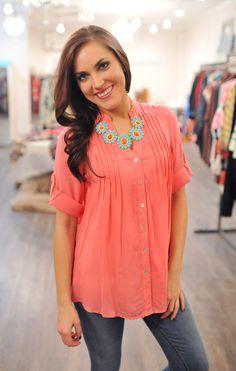 Dottie Couture Boutique - Pleated Tunic- Coral, $34.00 (http://www.dottiecouture.com/pleated-tunic-coral/)