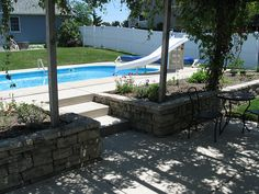 Pool-side Sunken Patio w/pergola