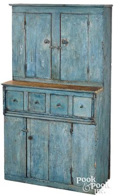 Primitive Furniture, Country Furniture, Retro Furniture, Country Cupboard, Country Primitive, Primitive Decor, Cupboards For Sale, Blue Cabinets, Tall Cabinets