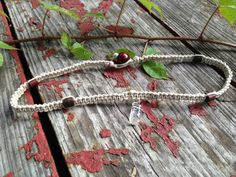 Clear Quartz Organic Hemp Choker NecklaceTan Hemp by TheSunLab, $20.00