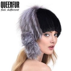 QUEENFUR 2017 Winter Fashion Women Natural Knitted Mink Fur Hat With Real Fox Fur Side Ball Beanies Genuine Thick Fur Famle Caps