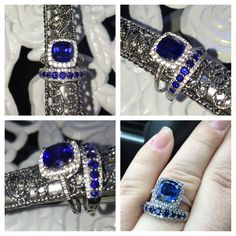 My Hubby bought me a new set this April for my birthday I was shocked!! We have for years been looking for a blue sapphire engagement ring and wedding band with diamonds. A real alternative to the traditional diamond ;) we got married in September ❤️ engagement ring is a 3 carat sapphire with 1/4 carats of diamonds / wedding band is 1.25 carats of sapphires and 1/3 carats of diamonds . Both rings are in 14k white gold. Now just need to find a way to incorporate my original diamond band into…