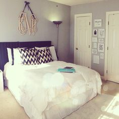 """Would make a very pretty guest room with """"Welcome"""" or """"Sweet Dreams"""" or something like that hung above the bed in place of the monogram. And maybe put a bench with extra blankets and such at the foot of the bed."""