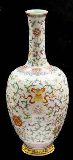 This lovely Chinese famille rose vase, Qianlong mark and of the period (1736-1795), sold for 10 times its predicted auction price, for a total of 300,000 pounds.