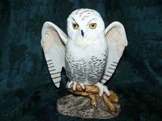 Vintage 1981 Enesco Porcelain Snow Owl Figurine Fred Aman E-3498 - SOLD