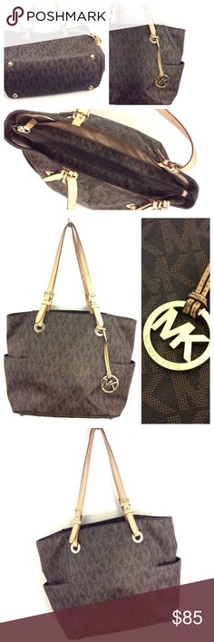 """MICHAEL KORS east West shoulder BAG purse pvc logo MK AUTHENTIC East West bag.. Dimensions: 10 1/4"""" H x 16 1/4"""" W x 5 inches Deep x 9 1/4"""" strap drop  Lining: Signature fabric, some spots . Some darkening / light wear to straps Michael Kors Bags Shoulder Bags"""