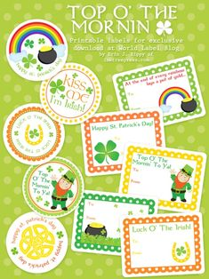Patrick's Day is March and I've got you hooked up with how to make St. Patrick's Day more fun with these Saint Patrick Day printables which include party favors, printable St. Patricks Day games, free coloring pages, printable activities for kid… Leprechaun, Printable Labels, Party Printables, Free Printables, Labels Free, Printable Crafts, Printable Stickers, Printable Paper, Holiday Crafts
