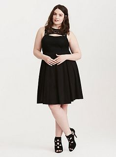 Plus Size Lace Inset Cutout Skater Dress, DEEP BLACK