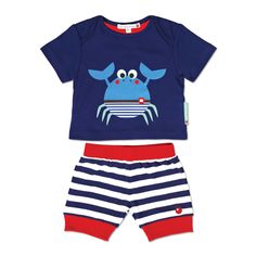 Crispin the Crab Boys Blue T-Shirt & Shorts Set - Crispin the Crab is getting ready for Summer on this fantastic T-Shirt and Shorts set, available for baby boys and those who are just a little bit older.The T-Shirt features an envelope neck and large Crispin the Crab print.The navy and white striped yarn dye shorts have contrasting red ribbing and a smart embroidered red apple.