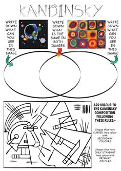 printable art worksheets for art appreciation pdf Middle School Art, Art School, High School, Art Pastel, Kandinsky Art, Art Handouts, Art Worksheets, Ecole Art, Art Curriculum