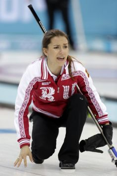 DAY 8:  Anna Sidorova of Russia competes during the Curling Women's Round Robin Session 7 - Russia vs. Switzerland http://sports.yahoo.com/olympics