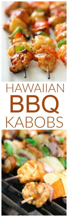 Hawaiian BBQ Chicken Kabobs with fresh pineapple, peppers and onions grilled and basted in a sweet and tangy barbecue glaze. How to make Kabobs everyone loves! Kabob Recipes, Grilling Recipes, Cooking Recipes, Healthy Recipes, Healthy Meals, Grilling Ideas, Protein Recipes, Delicious Recipes, Chicken Kabobs
