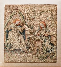 The Annunciation, Netherlandish, century, Silk and metal thread on linen The Cloisters, Medieval Art, 15th Century, Art Museum, Vintage World Maps, Bohemian Rug, Embroidery, Silk, Metal