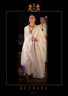 Chikan and Kamdani single button coat with tissue wave pyjama and Chikan-Kamdani dupatta. Kotwara by Meera and Muzaffar Ali.