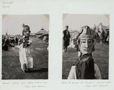 """Madura. Dance. """"Karapan"""" dance given before bullock race; Mask of dancer at """"Karapan"""" (bullock-race). Photo: KPM, Batavia."""