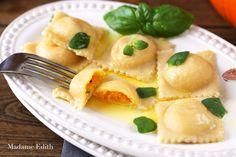 pumpkin and Parmesan ravioli