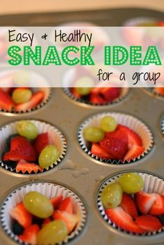 Snack Idea: Individual Portions of Mixed Fruit ~ Love using the muffin tin and liners
