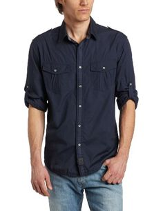 Calvin Klein Jeans Men's Solid Long Sleeve Military Shirt $55.99 - $69.50