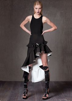 Alexis Trish Asymmetrical Skirt with Ruffles in Black White