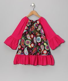 Take a look at this Coral Paisley Peasant Dress - Toddler & Girls by Million Polkadots on #zulily today!