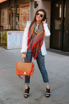 White jacket + colorful scarf + grey t + jeans & heels