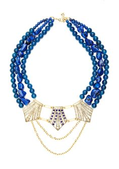 Yochi, Navy/Gold beaded crest statement necklace