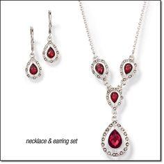 "Avon  Demi Duchess Gift Set Silvertone with faux stones. Necklace, 16 1/2"" L. Pierced earrings, 1 1/4"" L.  Item#: 284-489 $12.99 set. http://youravon.com/irmae"