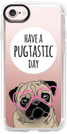 Casetify iPhone 7 Classic Grip Case - Have a Pugtastic Day - Pug Dog with Pink Heart Glasses by Happy Cat Prints #Casetify