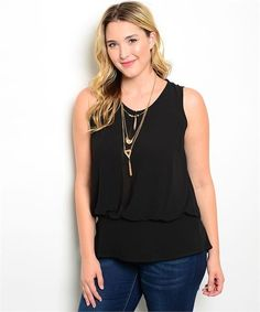 GORGEOUS CHIC BLACK PLUS SIZE TOP #Unbranded #Blouse