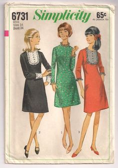 1966 Simplicity 6731 FACTORY FOLDED Junior and Misses by Pinkalink
