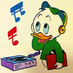 Donald Duck's nephew enjoys listening to vinyl on his headphones