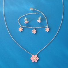 925 Sterling Silver Pink & White Enamel Daisy Set by AfillyDsign, $69.80