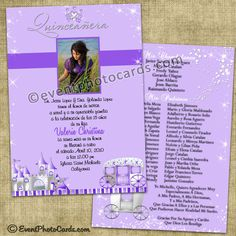 Purple Princess Quinceanera Invitations, Sweet 15 -