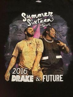 d897e417f95a Drake  amp  Future Summer Sixteen Concert Tour 2016 T-Shirt Sz L Hip Hop