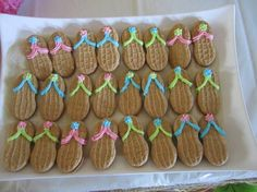 Hawaii party idea - peanut butter cookies as flip-flop sandals. Great for a beach party too!