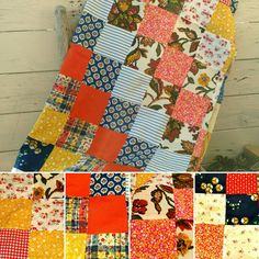 Check out this item in my Etsy shop https://www.etsy.com/listing/270688162/retro-quilt-top-in-vibrant-colors-bright