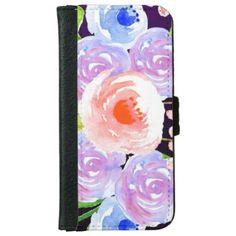 Purple Watercolor Floral Pretty Flowers iPhone 6/6s Wallet Case - flowers floral flower design unique style