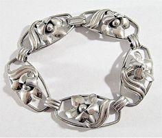 VINTAGE MARKED STERLING SILVER FLORAL DESIGN 3D OPEN WORK LINK BRACELET 14.5g   Jewelry & Watches, Vintage & Antique Jewelry, Vintage Handcrafted, Artisan   eBay!
