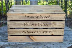 Rustic Wedding Cake Stand - Rustic Crate - Personalized Wooden Cake Stand - Rustic Wedding Decor by CountryBarnBabe on Etsy https://www.etsy.com/listing/211158313/rustic-wedding-cake-stand-rustic-crate