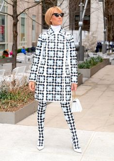 Celine Dion's in 8 Moncler Richard Quinn Floral Coat, Tights in NYC – Footwear News Celine Dion, All Black Looks, White Pumps, New York Street, Moncler, Queen, Well Dressed, Marie, Ready To Wear