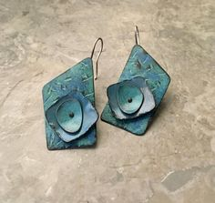 Rustic turquoise earrings layered riveted metal distressed