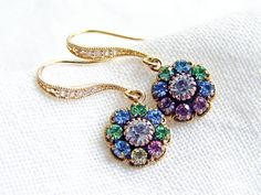 Multi Colored Swarovski Flower Earrings with CZ by smallbluethings, $25.00