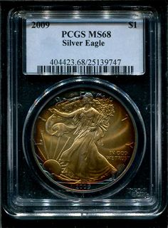 2009 American Silver Eagle PCGS MS68  Amazing color on this modern coin - $550  www.brokencc.com