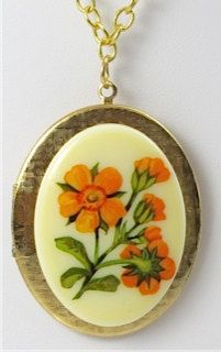 Gold Locket Orange Flowers by TashaHussey on Etsy, $42.00