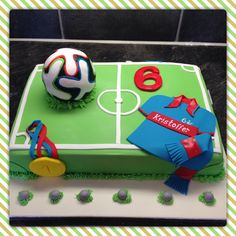 """Football cake, inspired by the Norwegian team Vålerenga and the 2014 World Cup Ball """"Brazuca"""" - designed and executed by Silvia Ramsvik - www.silviaramsvik.com Sugar Paste, Novelty Cakes, Fondant, Football, Inspired, Inspiration, Soccer, Sugar Pie, Fondant Icing"""
