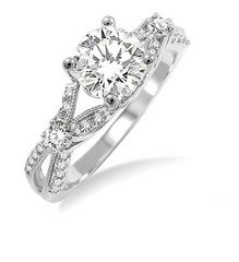 Wedding Engagement Diamond Vintage Round. 14K WHITE GOLD SPLIT SHANK DESIGN ENGAGEMENT SETTING FEATURING 30 ROUND BRILLIANT CUT DIAMOND ACCENTS. PEG HEAD CAN ACCOMMODATE ANY SIZE OR SHAPE CENTER